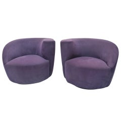 Pair of Vladimir Kagan Nautilus Lounge Chairs