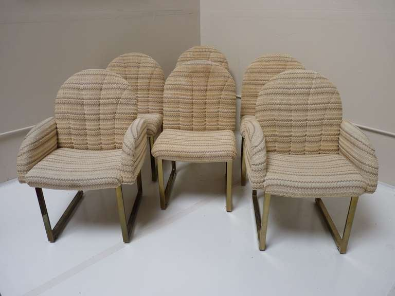 set of 6 rolling brass dining chairs by milo baughman for thayer