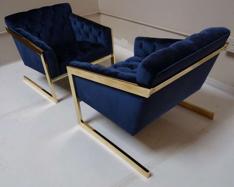 Pair of Brass & Velvet Tufted Lounge Chairs after Milo Baughman image 6