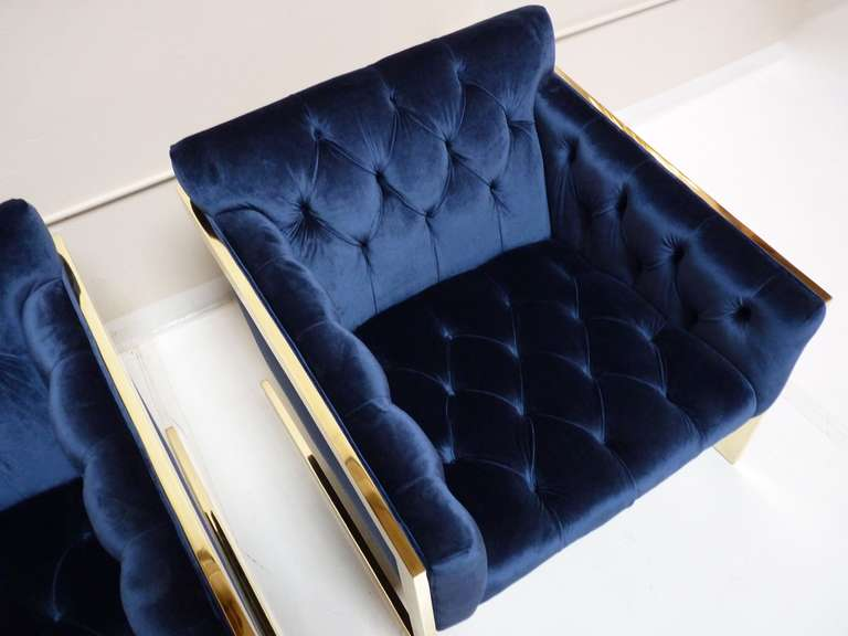 Pair of Brass & Velvet Tufted Lounge Chairs after Milo Baughman image 7