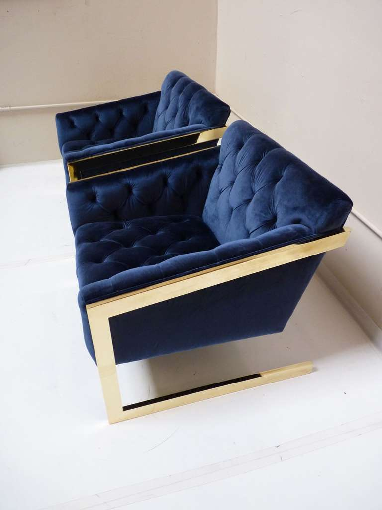 Pair of Brass & Velvet Tufted Lounge Chairs after Milo Baughman 5