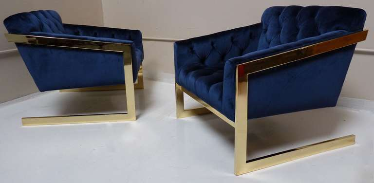 Pair of Brass & Velvet Tufted Lounge Chairs after Milo Baughman 8