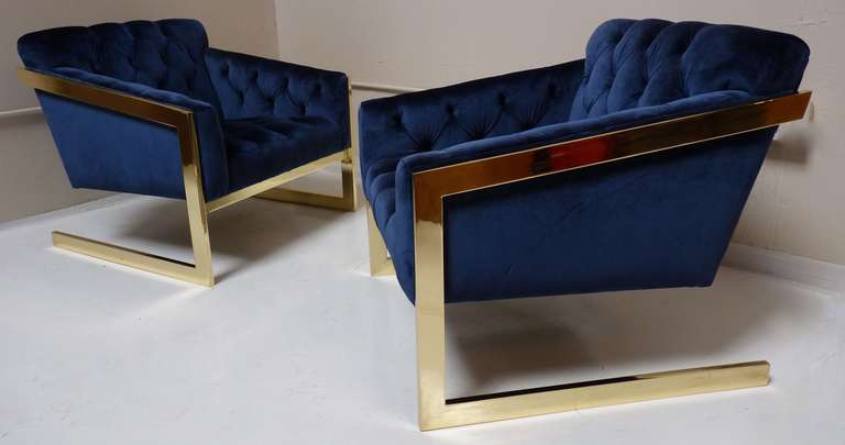 Pair of Brass & Velvet Tufted Lounge Chairs after Milo Baughman image 3