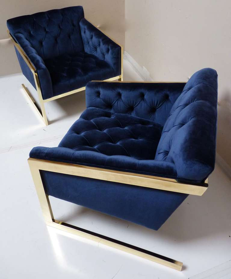 Pair of Brass & Velvet Tufted Lounge Chairs after Milo Baughman 2