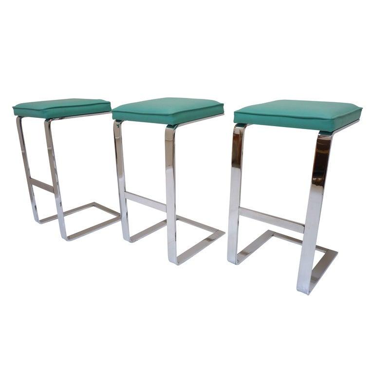 set of 3 milo baughman bar stools at 1stdibs. Black Bedroom Furniture Sets. Home Design Ideas