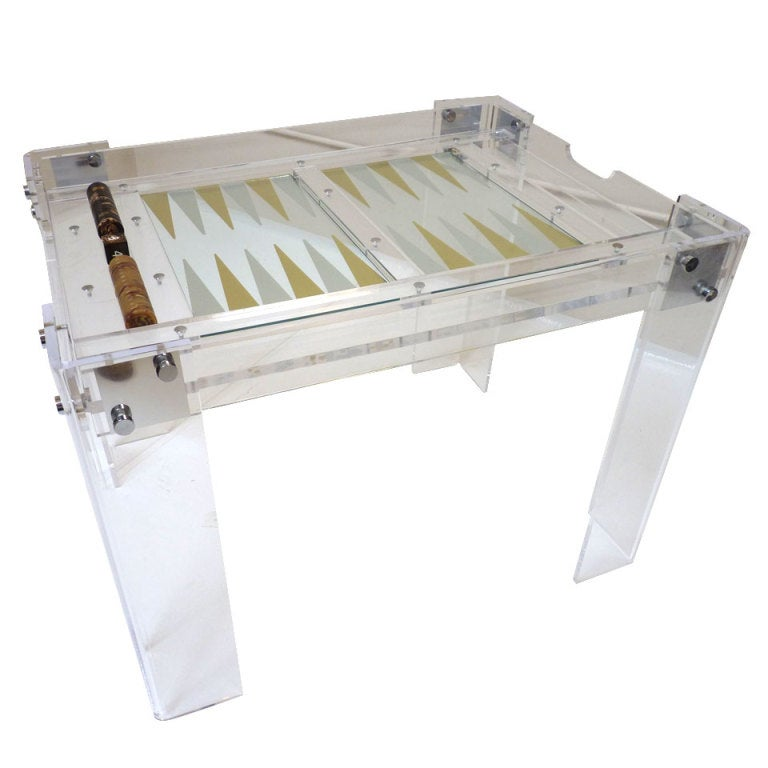 lucite backgammon table by charles hollis jones at 1stdibs. Black Bedroom Furniture Sets. Home Design Ideas