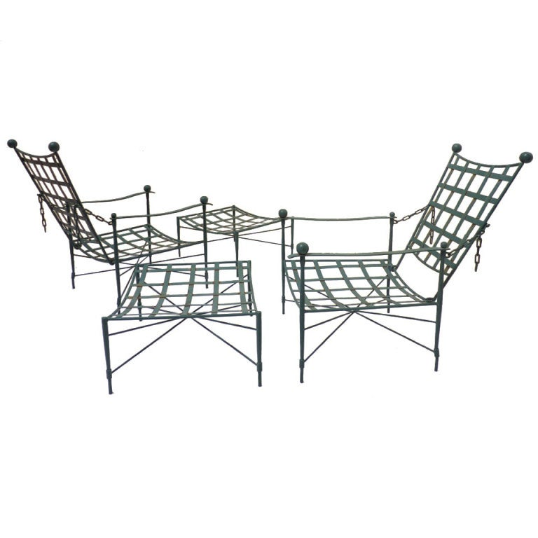 Pair of Iron Lounge Chairs and Ottomans by Papperzini for Salterini at 1stdibs