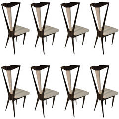 Outstanding Set of Eight Italian Dining Chairs