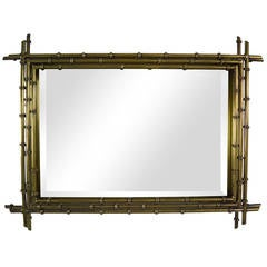 Faux Bamboo Shadowbox Mirror in Brass by C. Jere