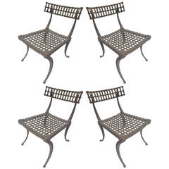 Set of 4 Klismos Chairs in Aluminum by Thinline