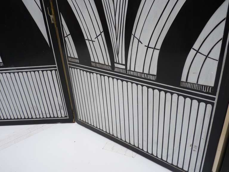 Monumental Art Deco Revival Five Panel Screen After Edgar Brandt image 8