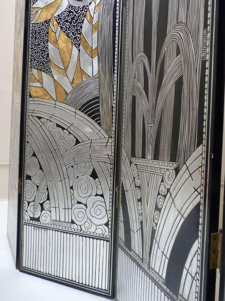 Monumental Art Deco Revival Five Panel Screen After Edgar Brandt image 10