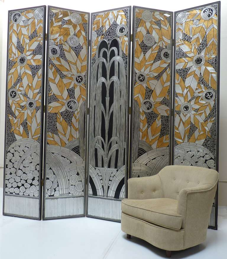 Monumental Art Deco Revival Five Panel Screen After Edgar