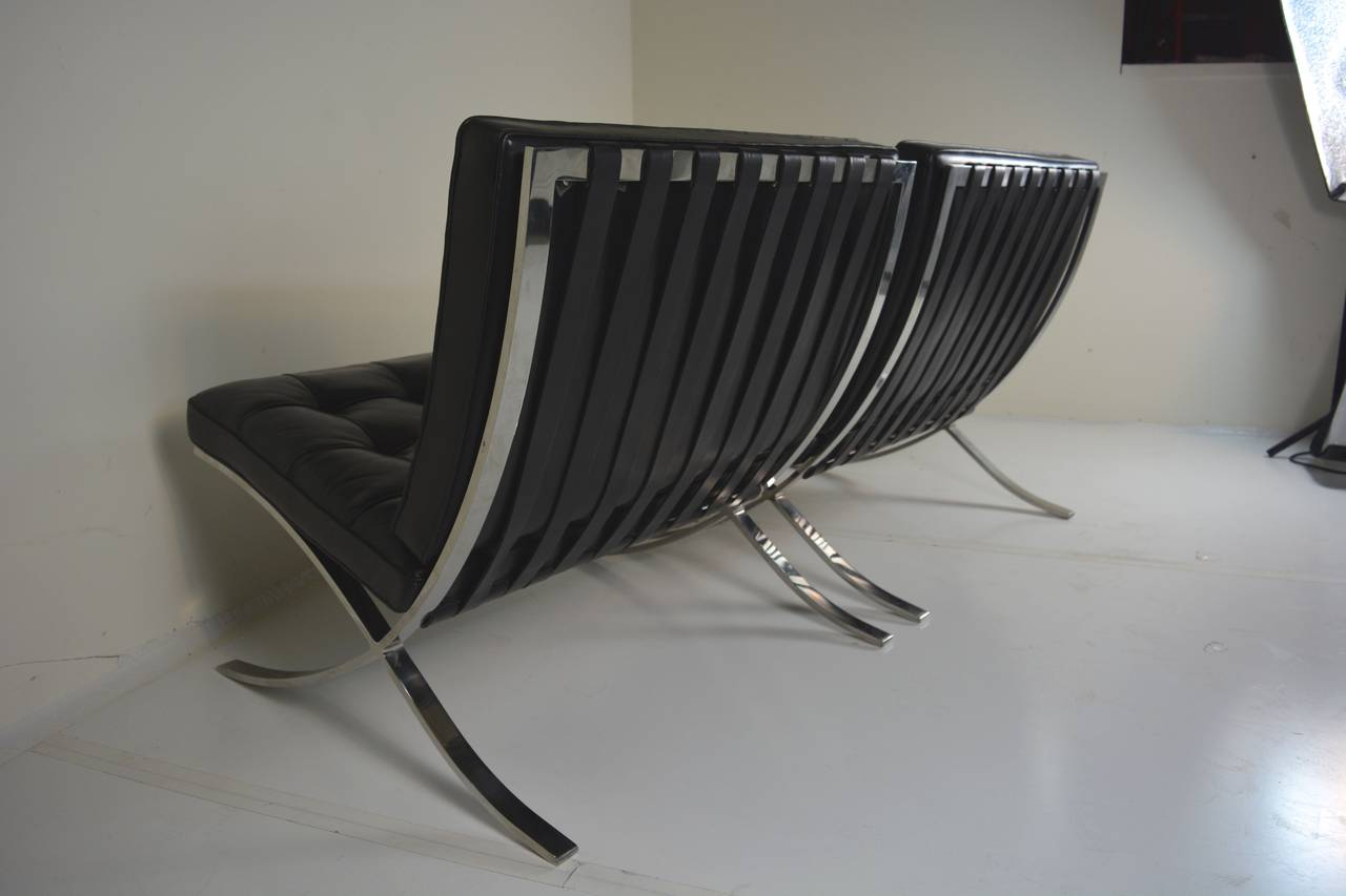 fourteen signed barcelona chairs by ludwig mies van der rohe for knoll. Black Bedroom Furniture Sets. Home Design Ideas