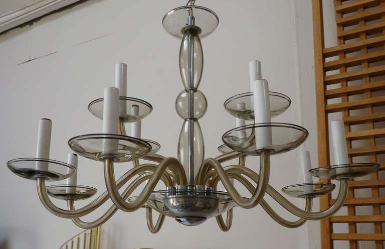 Italian Chandelier In Glass And Brass By Barovier Toso Murano 1960s