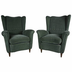Pair of Italian Wingback Lounge Chairs in Original Olive Mohair, circa 1940s