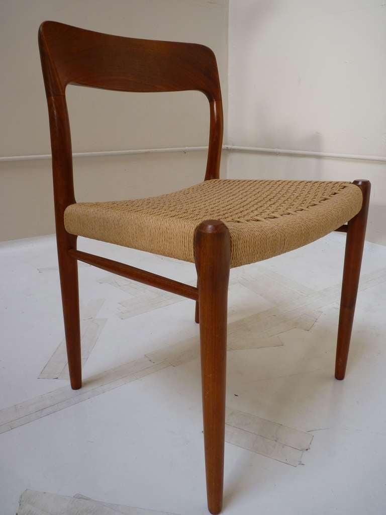 this set of six teak dining chairs by niels moller is no longer