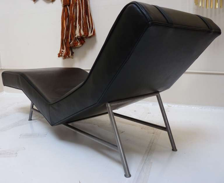 Leather Chaise Lounge by Milo Baughman for Thayer Coggin