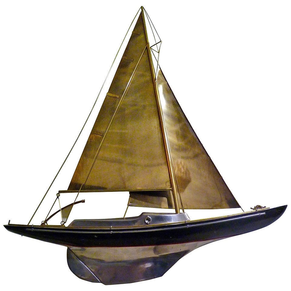 Sailboat Wall Sculpture by Curtis Jere For Sale