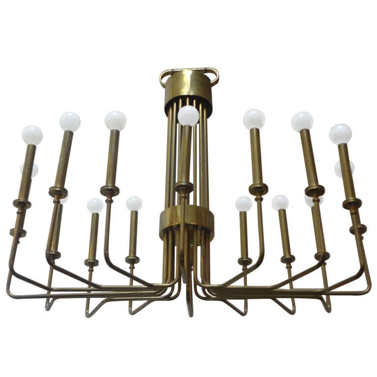 Brass 16 Arm Chandelier By Hart Associates At 1stdibs