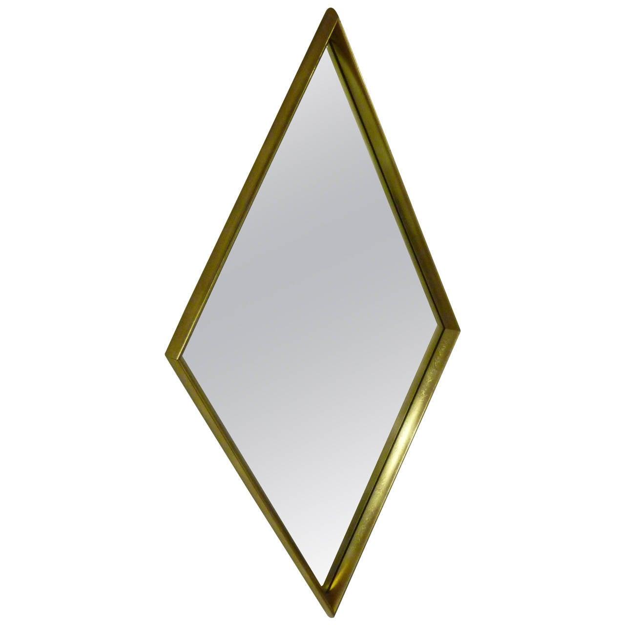 Modern Gold Leaf Diamond Mirror By La Barge At 1stdibs