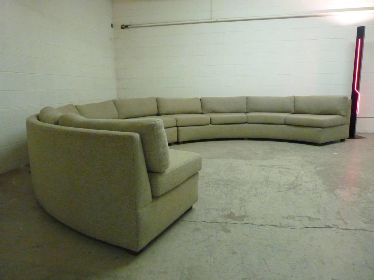 Large Curved Milo Baughman Sectional Sofa At 1stdibs
