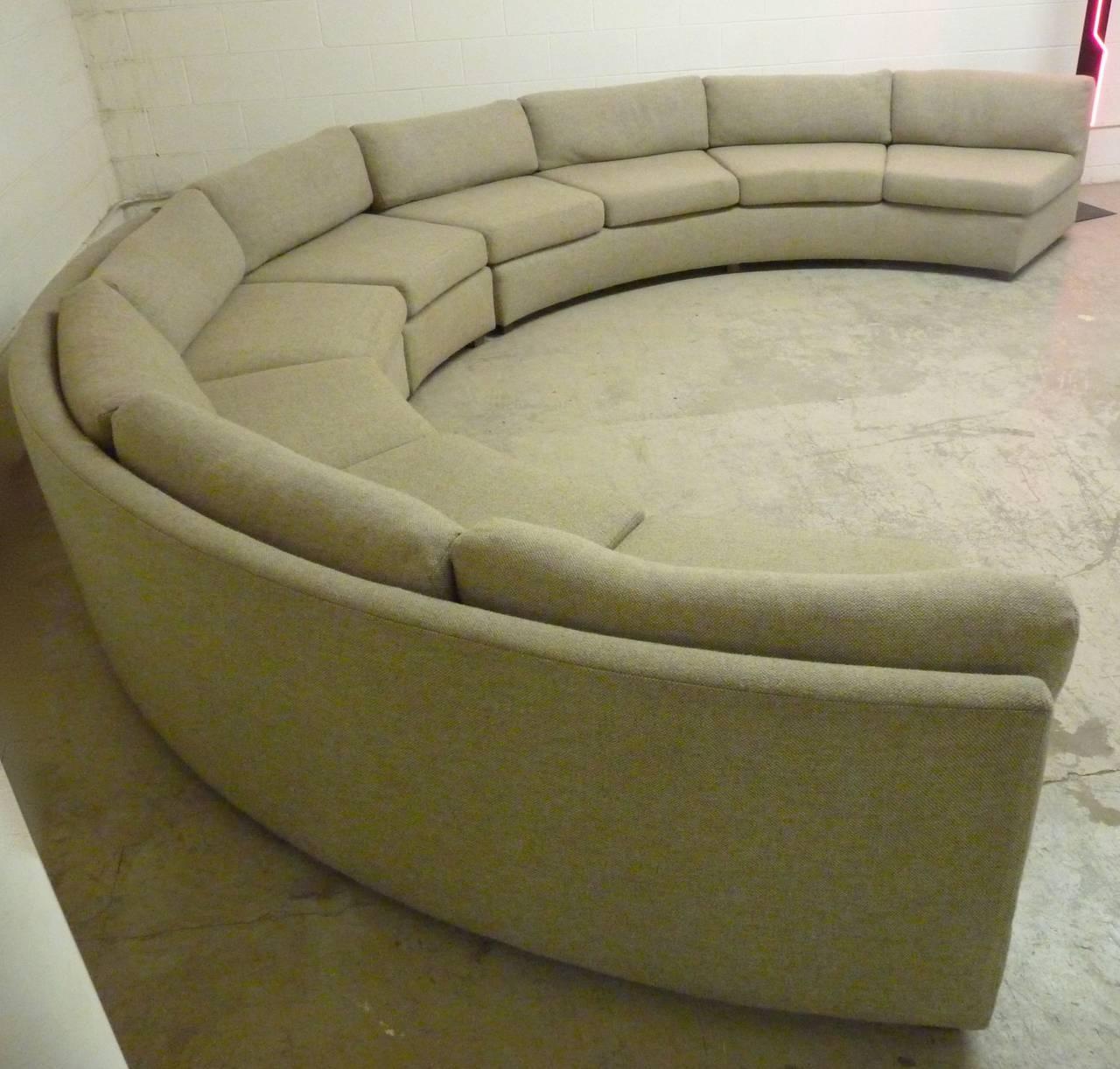 A Very Large, Semi Circular Sectional Sofa, Circa 1970s Consisting Of Two  Equally