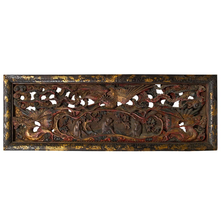 Unusual Deeply Carved and Painted Japanese Wood Panel