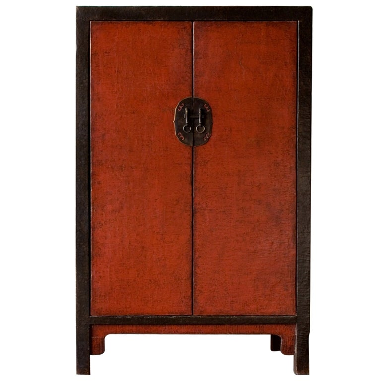 19th century chinese red and black lacquer cabinet at 1stdibs for Red chinese furniture