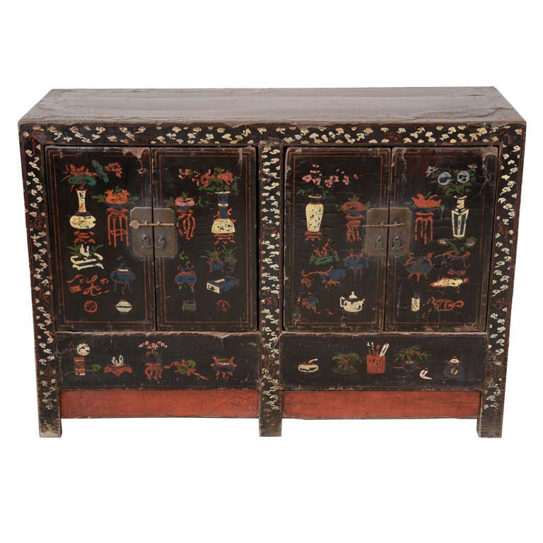 Early 19th century chinese painted double cabinet for sale for Chinese art furniture