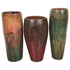 Multicolored Teak Drum Vases