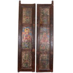 Pair Of Tibetan Painted Doors