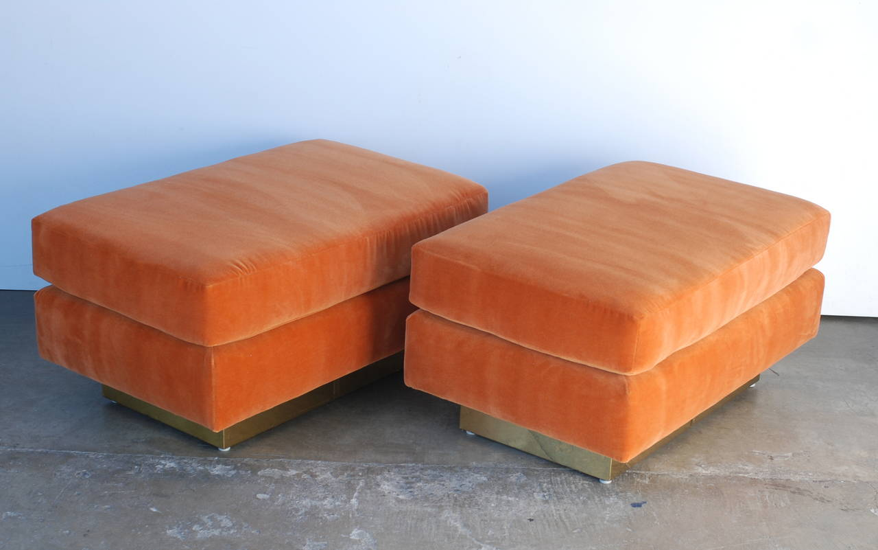 Pair Of Orange And Brass Ottomans At 1stdibs