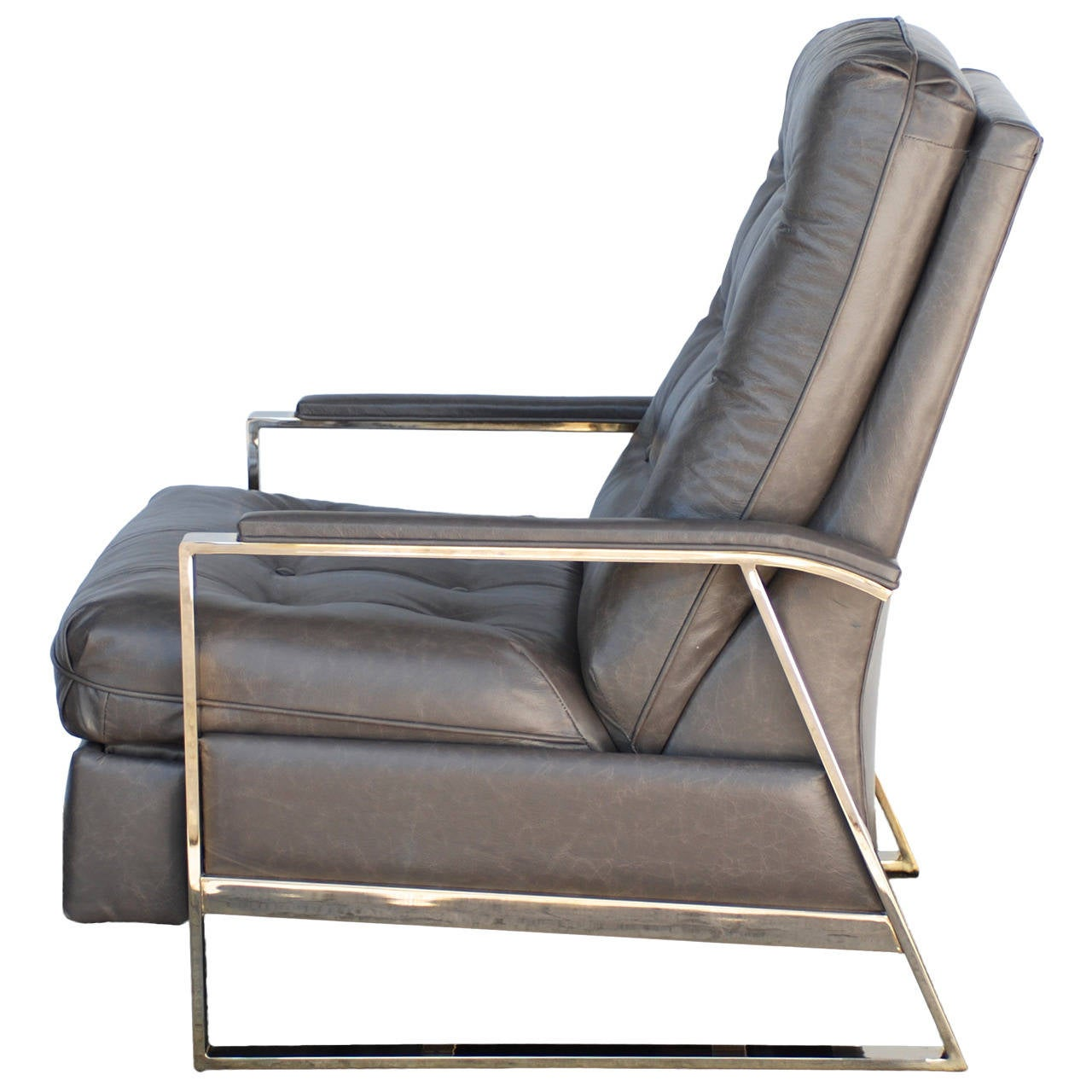 Baughman Grey Leather Recliner 1  sc 1 st  1stDibs & Baughman Grey Leather Recliner at 1stdibs islam-shia.org