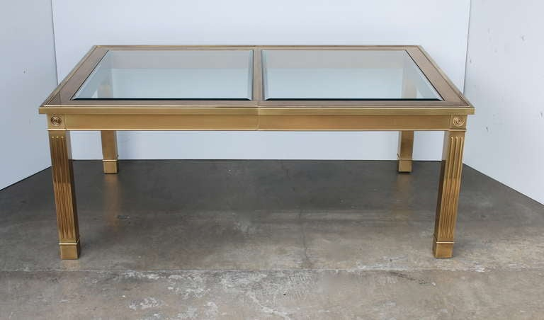 mastercraft brass and glass extension dining table at 1stdibs