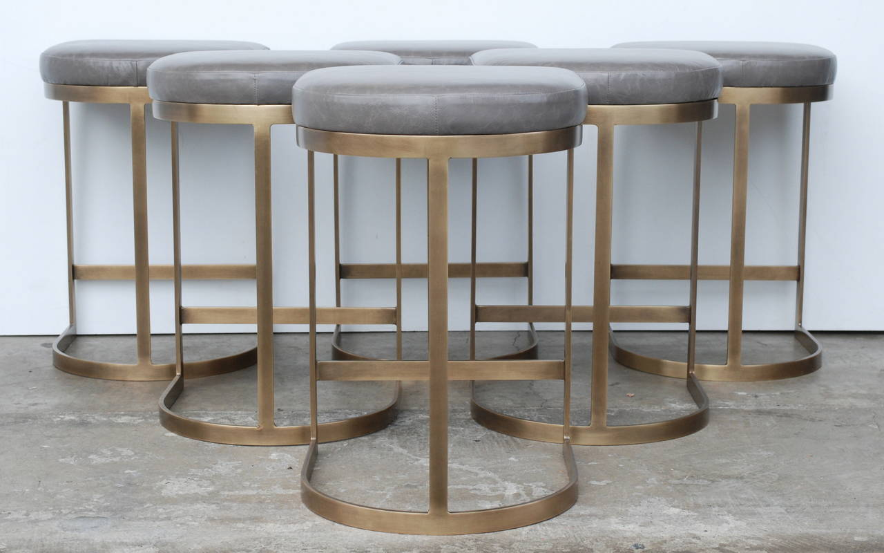 Mid-Century Modern Milo Baughman Burnished Brass Bar Stools in Grey Leather For Sale