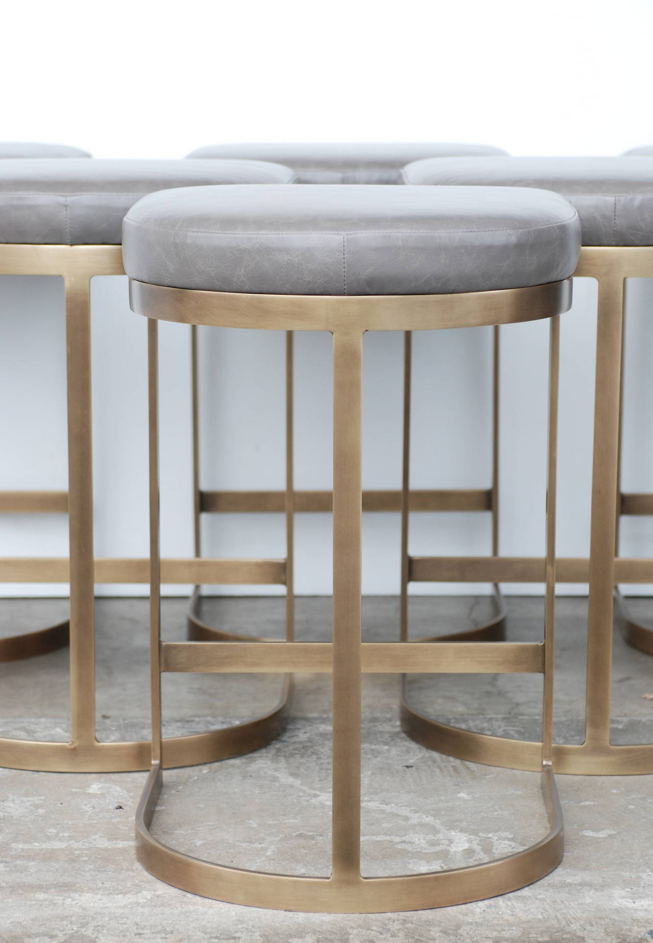 Milo Baughman Burnished Brass Bar Stools In Grey Leather
