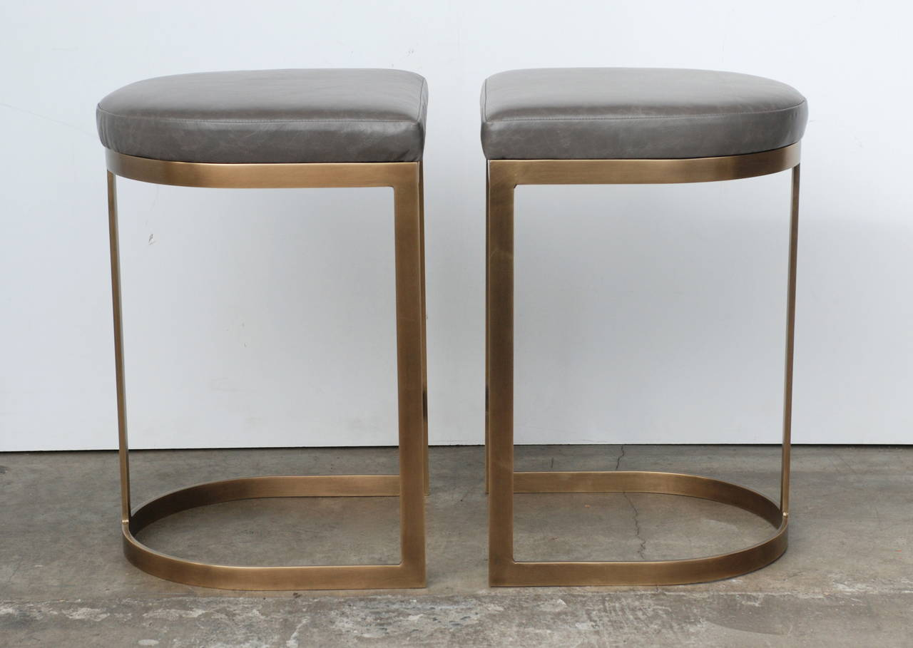 Milo Baughman Burnished Brass Bar Stools in Grey Leather In Excellent Condition For Sale In Palm Springs, CA
