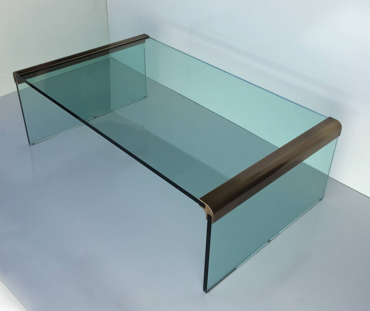 Burnished Brass And Glass Waterfall Coffee Table By Pace At 1stdibs