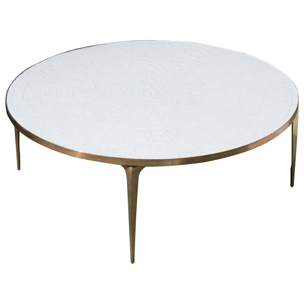 Round Brass And White Mosaic Coffee Table At 1stdibs