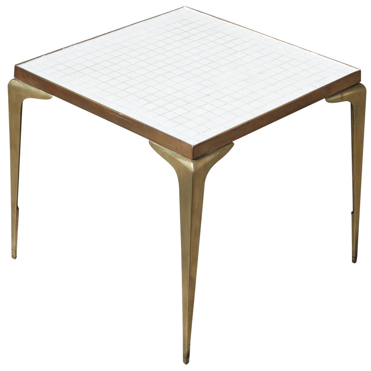 Square white mosaic and brass side table at 1stdibs for Square side table