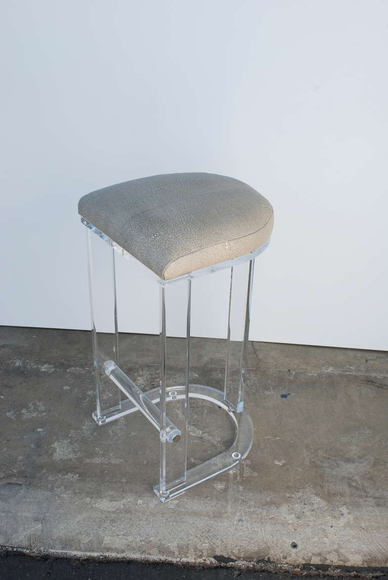 Pair Of Lucite And Silver Grey Shagreen Leather Barstools