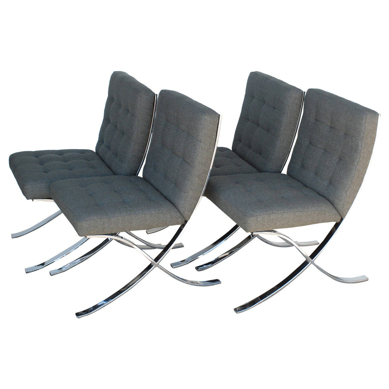 Set Of Four 1970s Chrome And Charcoal Grey Dining Chairs For Sale