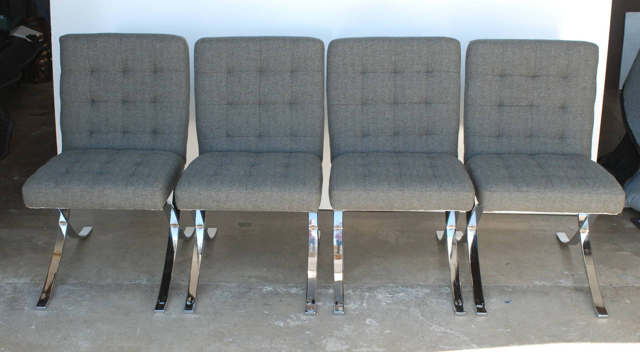 These Flat Bar Armless Comfortable Dining Chairs Have Been Reupholstered  Including Replacing The Foam. The