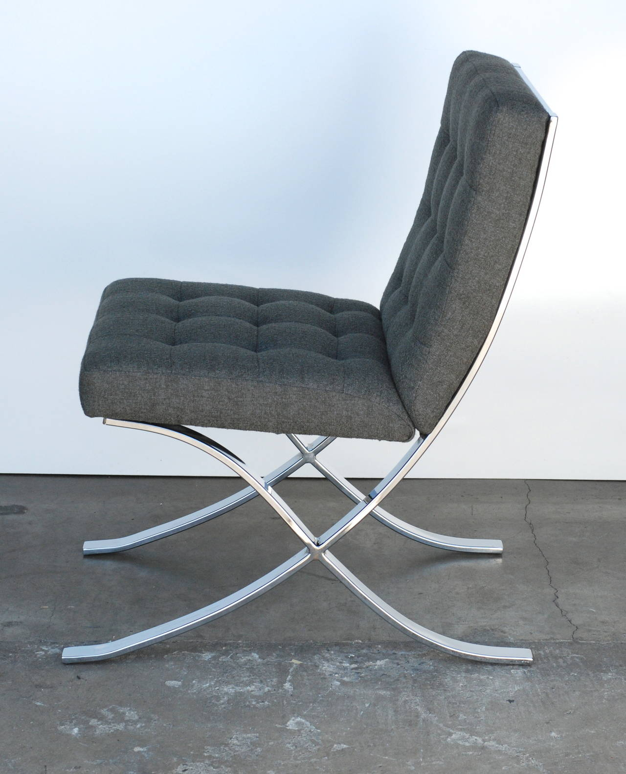 four 1970s chrome and charcoal grey dining chairs for sale at 1stdibs