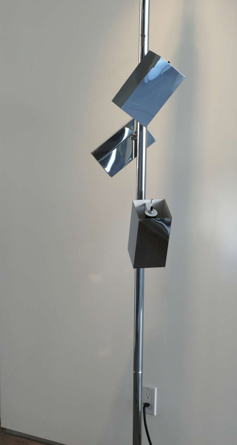 1970s Sonneman Style Chrome Tension Pole Floor Lamp At 1stdibs