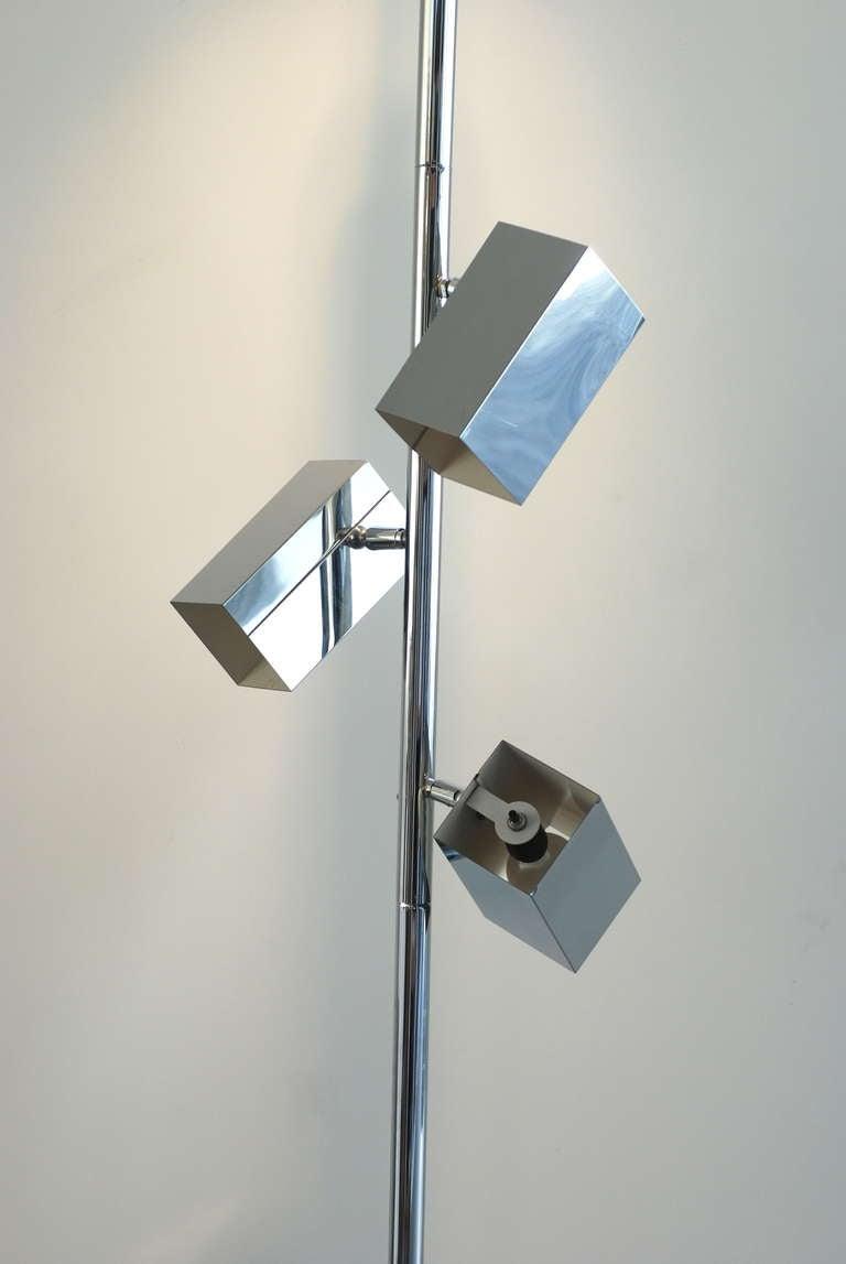 1970s Sonneman Style Chrome Tension Pole Floor Lamp At 1stdibs