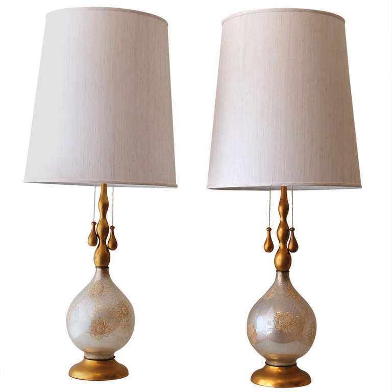 monumental pair of white and gold glass table lamps. Black Bedroom Furniture Sets. Home Design Ideas