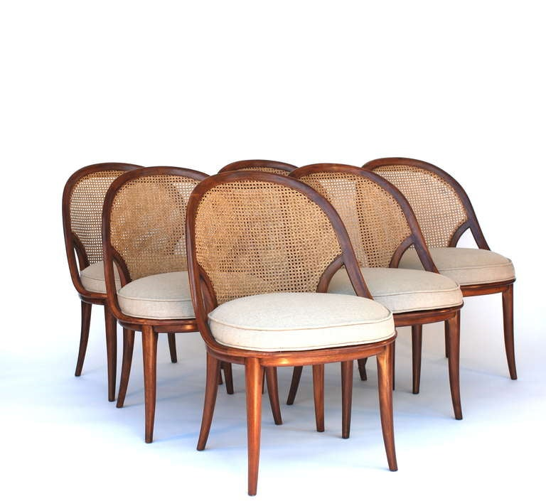 Walnut Dining Set Of Six Chairs And Extension Table By