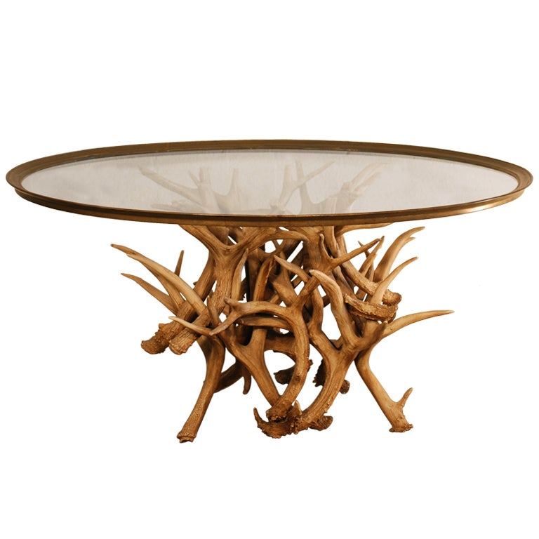 Antler Coffee Table With Brass And Glass Top At 1stdibs